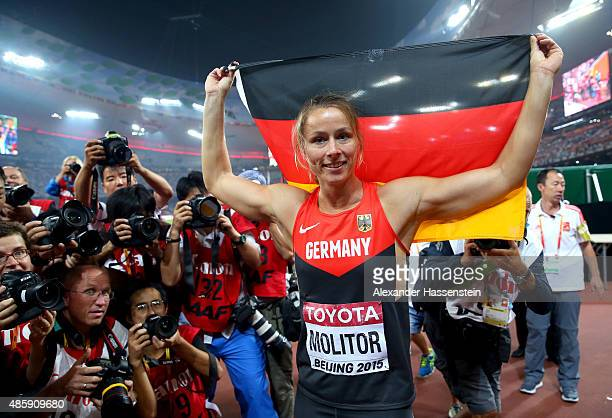 Kathrina Molitor of Germany celebrates after winning gold in the Women's Javelin final during day nine of the 15th IAAF World Athletics Championships...