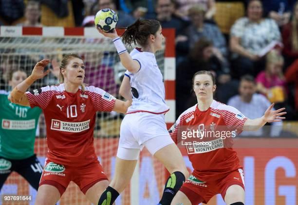 Kathrine Heindahl and Anne Mette Hansen of Denmark in action during the 2018 Women European Championship Qualification 2 match between Denmark and...