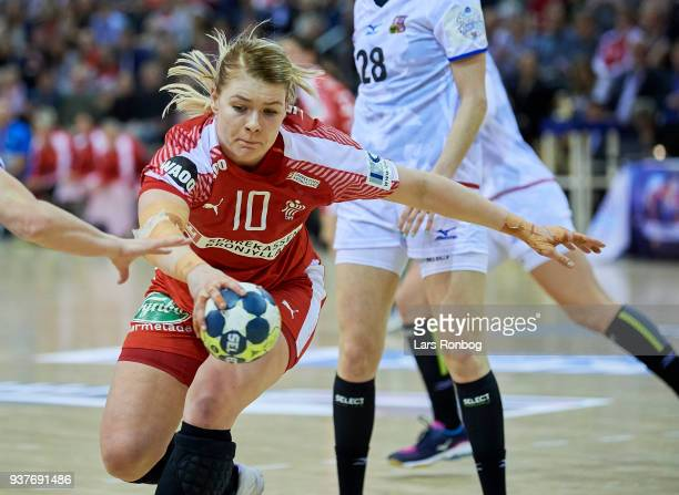Kathrine Heindahl of Denmark $acx$ the 2018 Women European Championship Qualification 2 match between Denmark and Czech Republic at Ceres Arena on...