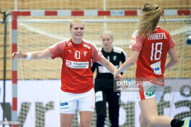 Kathrine Heindahl of Denmark and Mette Tranborg of Denmark celebrate after goal during the EHF EURO 2018 qualification match between Denmark and...