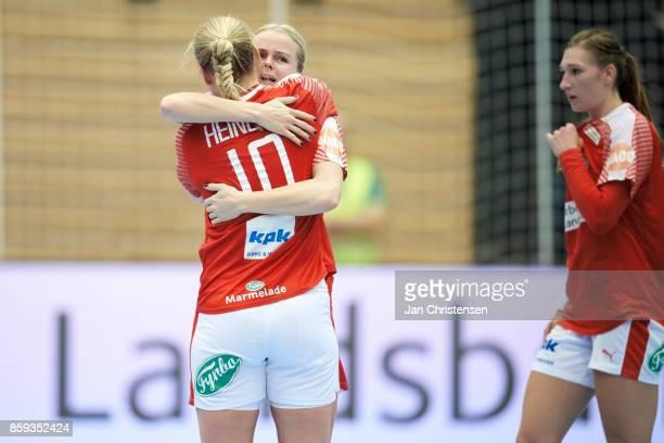 Kathrine Heindahl of Denmark and Stine Jorgensen of Denmark celebrate after the EHF EURO 2018 qualification match between Denmark and Slovenia in...