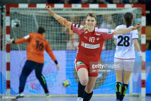 Kathrine Heindahl of Denmark celebrate after goal during the EHF EURO 2018 qualification match between Denmark and Czech Republic in Ceres Arena on...
