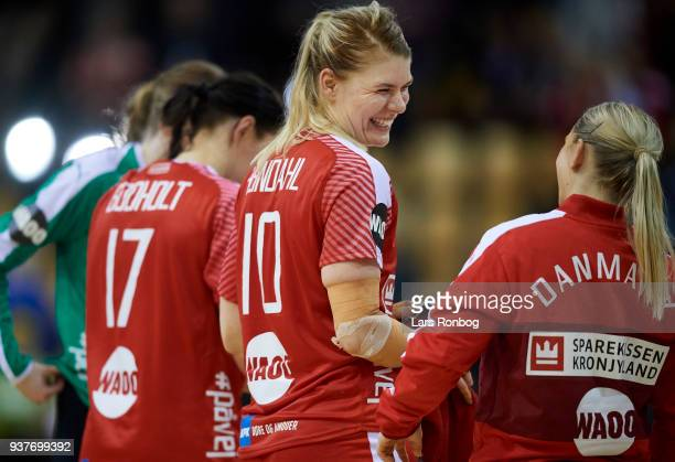 Kathrine Heindahl of Denmark celebrate after the 2018 Women European Championship Qualification 2 match between Denmark and Czech Republic at Ceres...