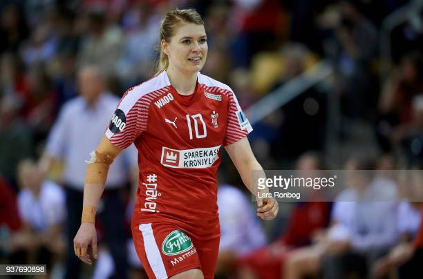 Kathrine Heindahl of Denmark celebrate during the 2018 Women European Championship Qualification 2 match between Denmark and Czech Republic at Ceres...