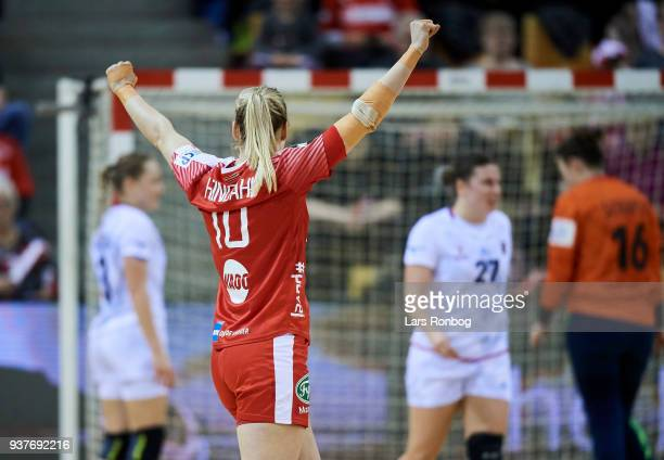 Kathrine Heindahl of Denmark celebrates during the 2018 Women European Championship Qualification 2 match between Denmark and Czech Republic at Ceres...