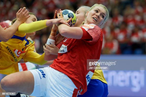 Kathrine Heindahl of Denmark challenge for the ball during the friendly match between Denmark and Sweden in Arena Nord on November 25 2017 in...