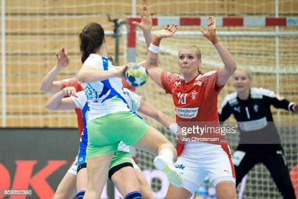 Kathrine Heindahl of Denmark defending during the EHF EURO 2018 qualification match between Denmark and Slovenia in Farum Arena on September 27 2017...