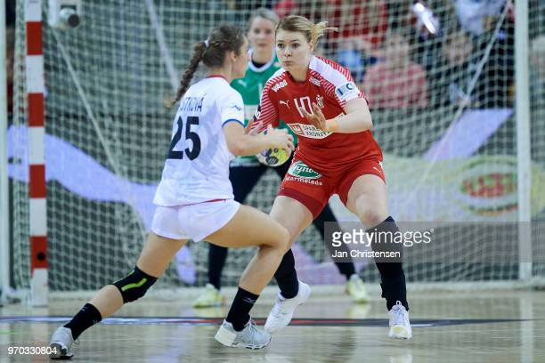 Kathrine Heindahl of Denmark defending during the EHF EURO 2018 qualification match between Denmark and Czech Republic in Ceres Arena on March 24...