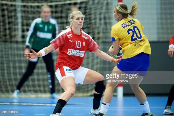 Kathrine Heindahl of Denmark defending during the friendly match between Denmark and Sweden in Arena Nord on November 25 2017 in Frederikshavn Denmark