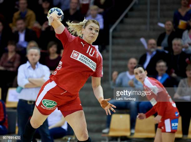 Kathrine Heindahl of Denmark in action during the 2018 Women European Championship Qualification 2 match between Denmark and Czech Republic at Ceres...