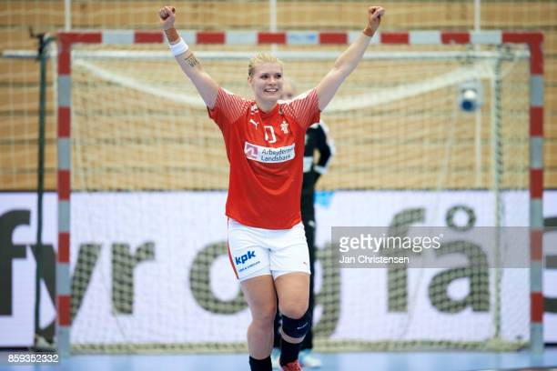 Kathrine Heindahl of Denmark of Denmark celebrate after goal during the EHF EURO 2018 qualification match between Denmark and Slovenia in Farum Arena...
