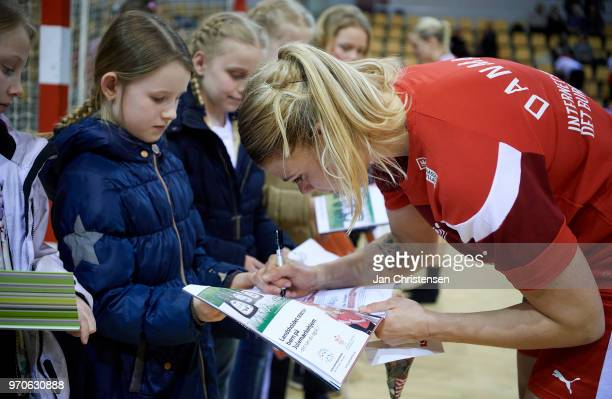 Kathrine Heindahl of Denmark signing autographs after the EHF EURO 2018 qualification match between Denmark and Czech Republic in Ceres Arena on...