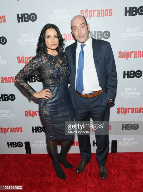 Kathrine Narducci and John Ventimiglia attend the The Sopranos 20th Anniversary Panel Discussion at SVA Theater on January 09 2019 in New York City
