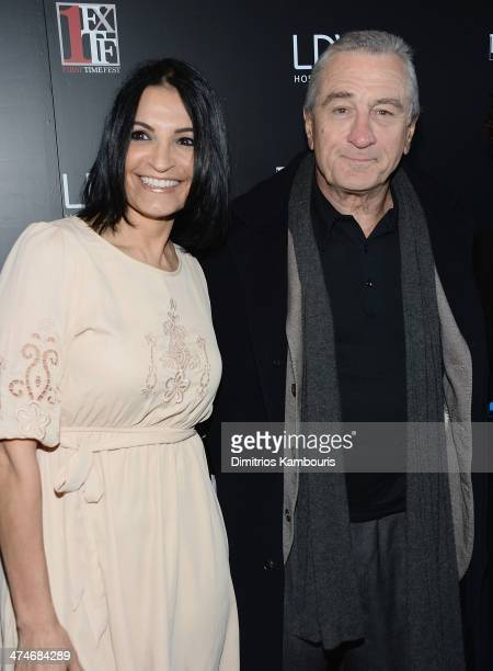 Kathrine Narducci and Robert De Niro attend Tribeca Film Istitute's 20th Anniversary Benefit Screening Of A Bronx Tale at Village East Cinema on...