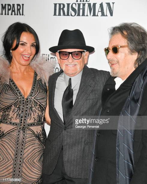 Kathrine Narducci Joe Pesci and Al Pacino attend The Irishman premiere during the 57th New York Film Festival at Alice Tully Hall Lincoln Center on...