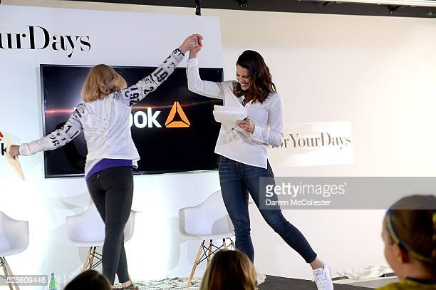Kathrine Switzer and Jessica Mendoza at REEBOK #HonorYourDays at Reebok Headquarters on April 28 2016 in Canton Massachusetts