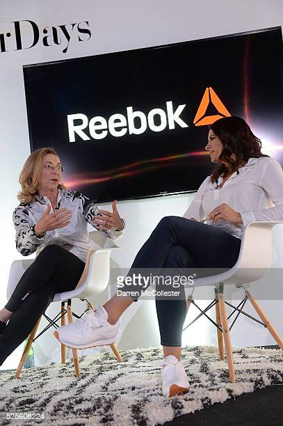 Kathrine Switzer and Jessica Mendoza attend REEBOK #HonorYourDays Luncheon at REEBOK Headquarters on April 28 2016 in Canton Massachusetts