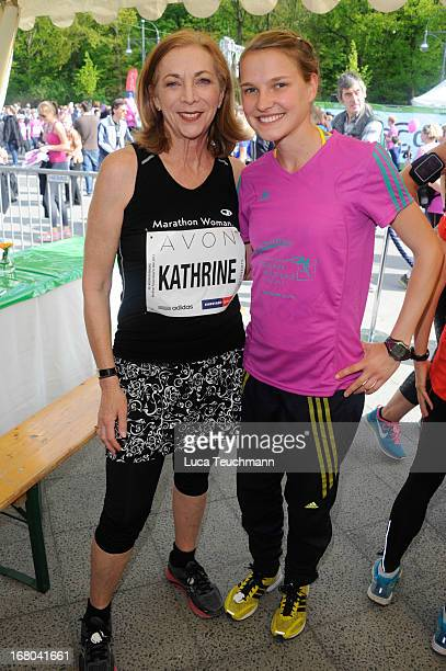 Kathrine Switzer and Lisa Hahner attend the 30th AVON Running Women's run in Tiergarten park on May 4 in Berlin Germany