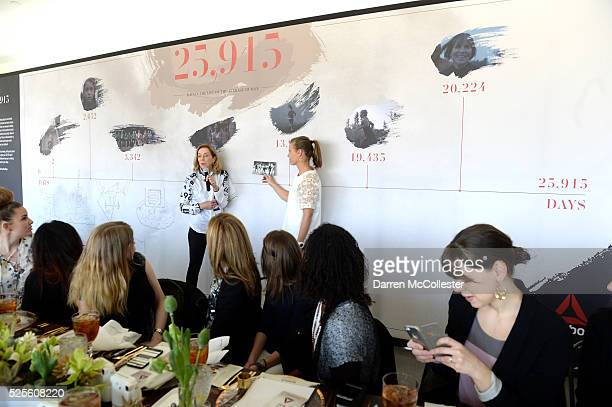 Kathrine Switzer at REEBOK #HonorYourDays Luncheon at Reebok Headquarters on April 28 2016 in Canton Massachusetts