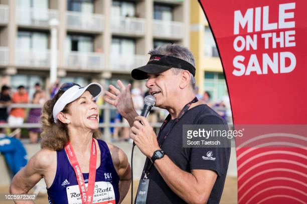Kathrine Switzer is interviewed prior to the 2018 Humana Rock 'n' Roll Virginia Beach Mile on the Sand on September 1 2018 in Virginia Beach Virginia...