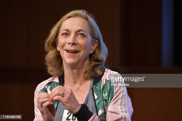 Kathrine Switzer speaks at the 40th annual Simmons Leadership Conference at Seaport World Trade Center on April 2 2019 in Boston Massachusetts...