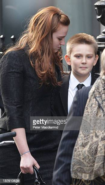 Kathryn and Leo Blair arrive for the funeral of Philip Gould at All Saints church on November 15 2011 in London England Lord Philip Gould an...