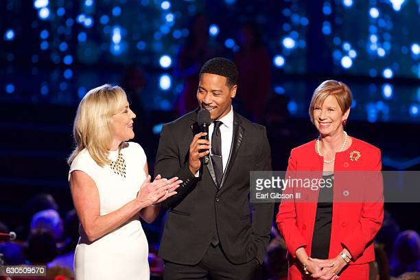 Kathryn Barger Brian White and Janice Hahn attend the 57th Annual LA County Holiday Celebration at Dorothy Chandler Pavilion on December 24 2016 in...