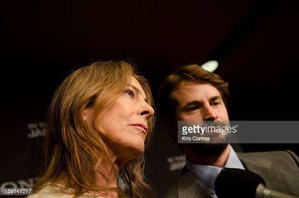 Kathryn Bigelow and Mark Boal speak with reporters at the Newseum during the Zero Dark Thirty Washington DC Premiere on January 8 2013 in Washington...