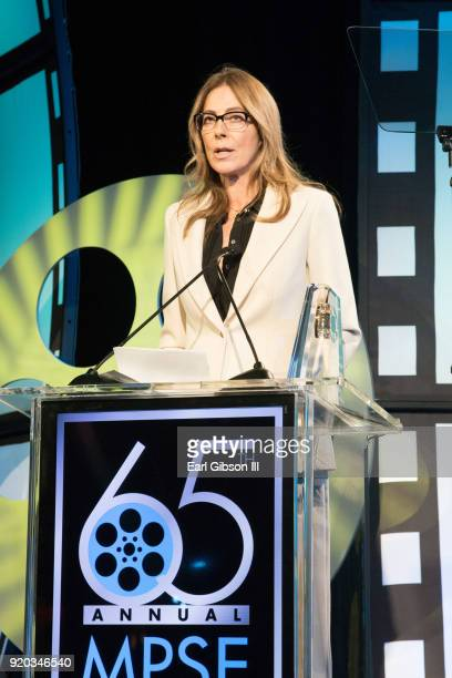 Kathryn Bigelow speaks onstage at the 65th Annual Motion Picture Sound Editors Golden Reel Awards on February 18 2018 in Los Angeles California
