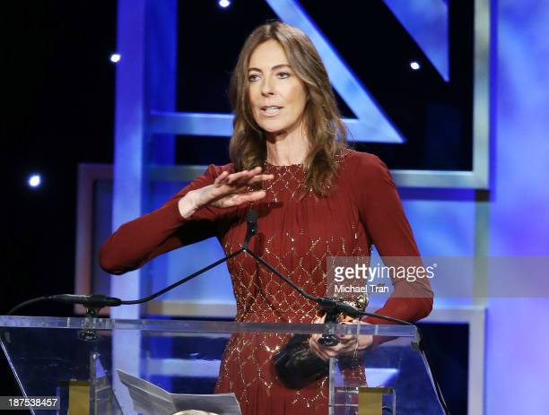Kathryn Bigelow speaks onstage during the BAFTA Los Angeles Britannia Awards held at The Beverly Hilton Hotel on November 9 2013 in Beverly Hills...