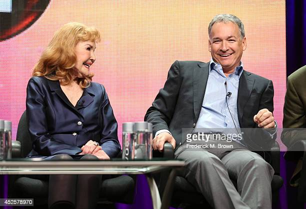 Kathryn Crosby and Harry Crosby speak onstage during the AMERICAN MASTERS Bing Crosby Rediscovered panel during the PBS Networks portion of the 2014...