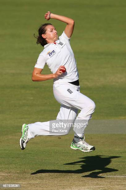 Kathryn Cross of England bowls during day three of the Women's Ashes Test match between Australia and England at the WACA on January 12 2014 in Perth...