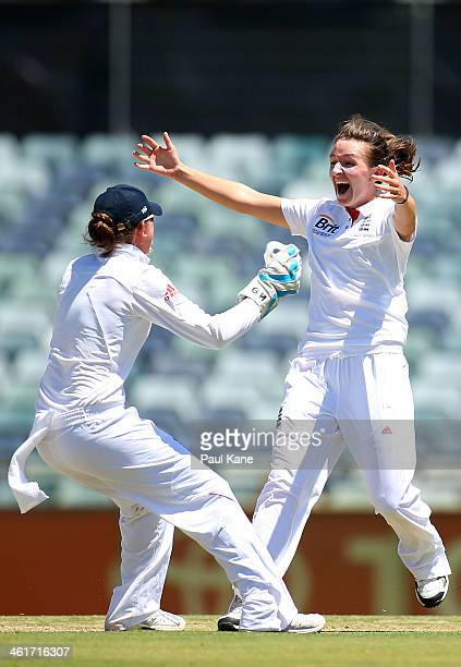 Kathryn Cross of England celebrates with Sarah Taylor after dismissing Alex Blackwell of Australia during day two of the Women's Ashes Test match...