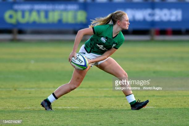 Kathryn Dane of Ireland runs with the ball during the Rugby World Cup 2021 Europe Qualifying match between Spain and Ireland at Stadio Sergio...