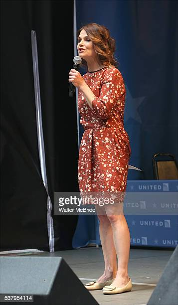 Kathryn Erbe on stage at United presents 'Stars in the Alley' in Shubert Alley on June 3 2016 in New York City