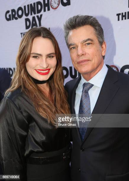 Kathryn Gallagher and father Peter Gallagher pose at the opening night of the new musical based on the film Groundhog Day on Broadway at The August...