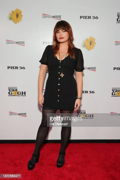 Kathryn Gallagher attends the Immersive Van Gogh Opening Night at Pier 36 on June 08, 2021 in New York City.