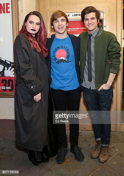Kathryn Gallagher Sean Grandillo and Alex Boniello attend 'Ride the Cyclone' opening night at The Lucille Lortel Theatre on December 1 2016 in New...