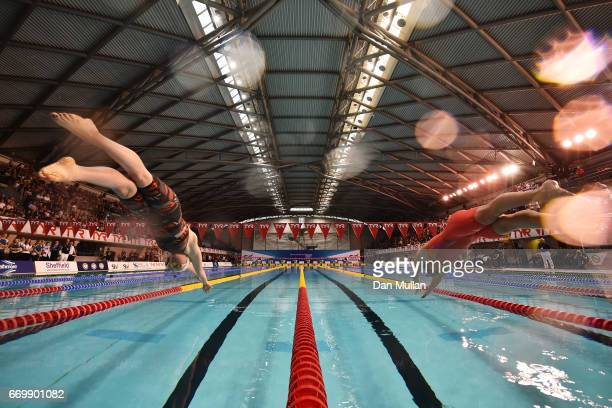 Kathryn Greenslade of Edinburgh Uni and Eleanor Faulkner of Co Sheffield compete in the Womens Open 200m Freestyle final on day one of the British...