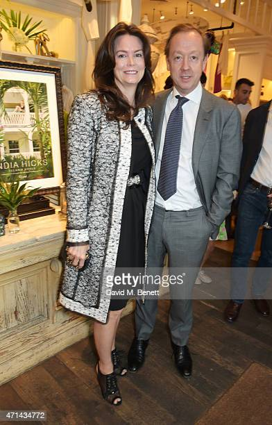 Kathryn Greig and Geordie Greig attend the book launch party for India Hicks Island Style at Ralph Lauren Fulham Road on April 28 2015 in London...