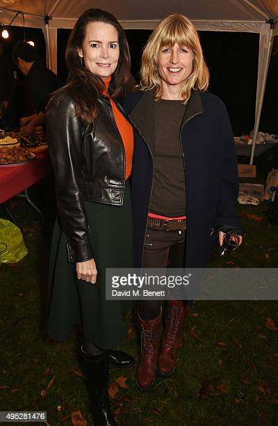 Kathryn Greig and Rachel Johnson attend the Stanley Crescent Guy Fawkes Party in Notting Hill on November 1 2015 in London England