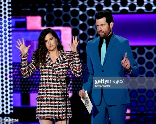 Kathryn Hahn and Billy Eichner speak onstage during the 2018 American Music Awards at Microsoft Theater on October 9 2018 in Los Angeles California
