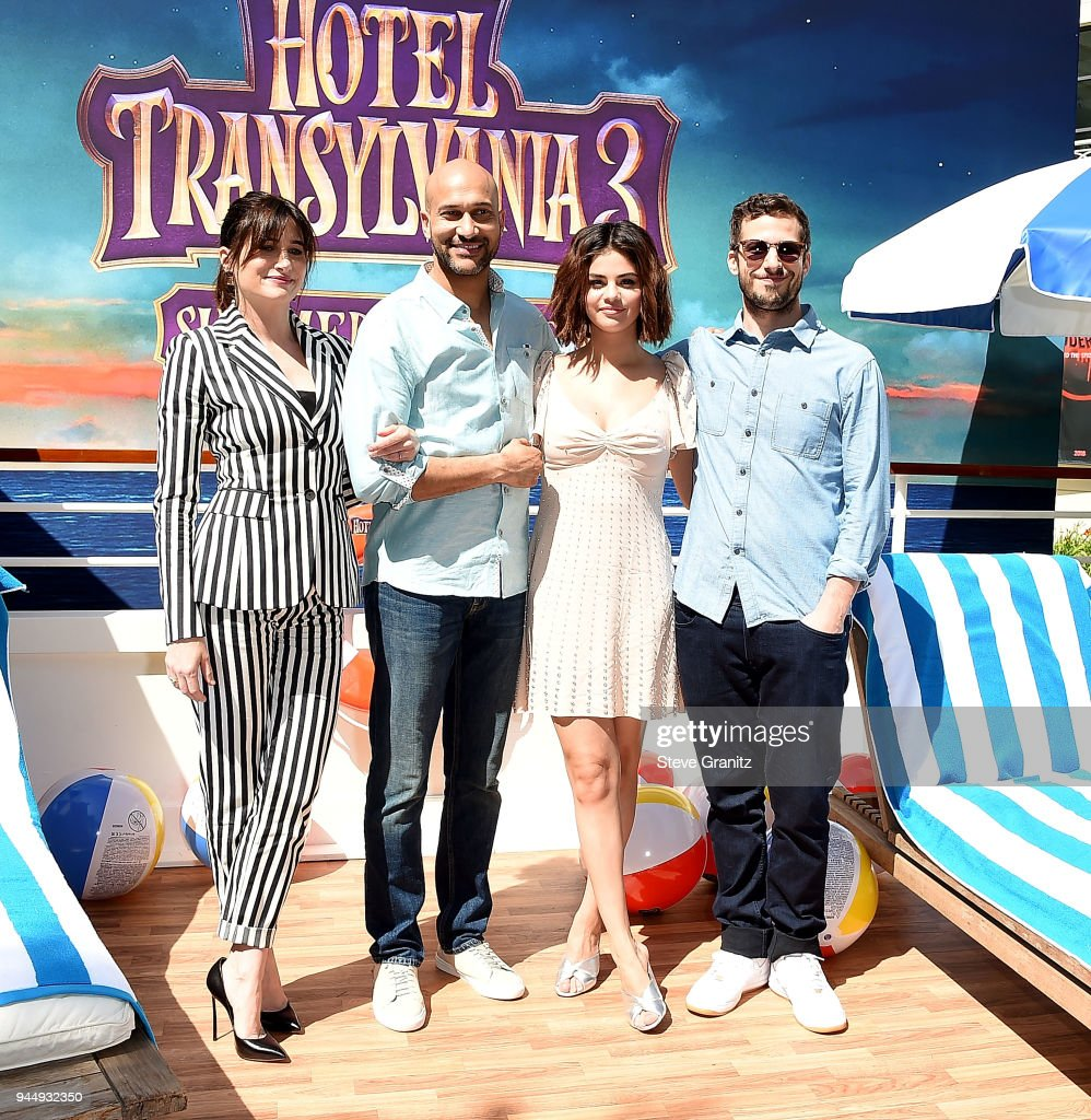 Kathryn Hahn, Keegan-Michael Key, Selena Gomez and Andy Samberg poses at the Photo Call For Sony Pictures' 'Hotel Transylvania 3: Summer Vacation' at Sony Pictures Studios on April 11, 2018 in Culver City, California.