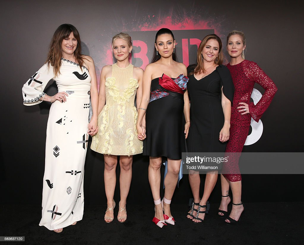 Kathryn Hahn, Kristen Bell, Mila Kunis, Annie Mumolo and Christina Applegate attend the premiere Of STX Entertainment's 'Bad Moms' at Mann Village Theatre on July 26, 2016 in Westwood, California.