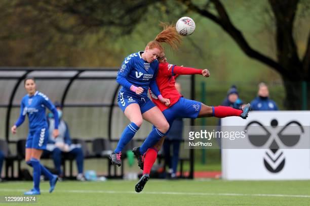 Kathryn Hill of Durham Women contests a header with Saffron Jordan of Blackburn Rovers during the FA Women's Championship match between Durham Women...