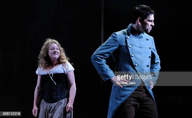 Kathryn Howden as Janet and Andy Clark as Captain David Ross in the Traverse Theatre's production of Rona Munro's play The Last Witch directed by...