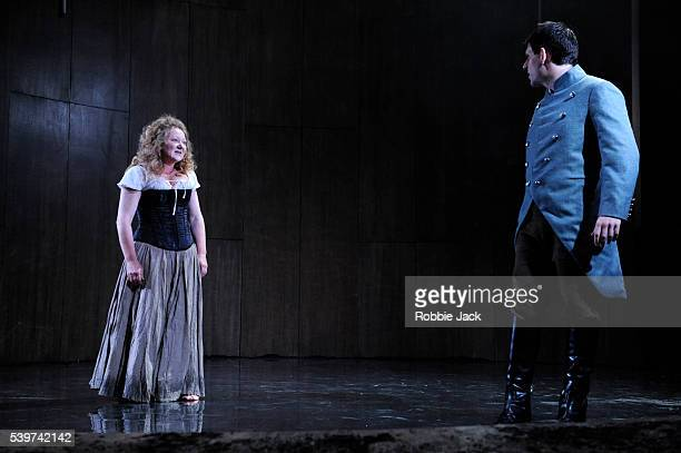 Kathryn Howden as Janet and Andy Clark Captain David Ross in the Traverse Theatre's production of Rona Munro's play The Last Witch directed by...