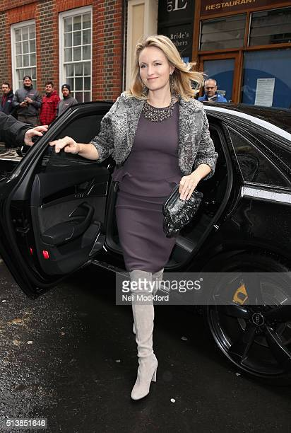 Kathryn Hufschmid arrives for the wedding of Jerry Hall and Rupert Murdoch at St Brides Church on Fleet Street on March 5 2016 in London England