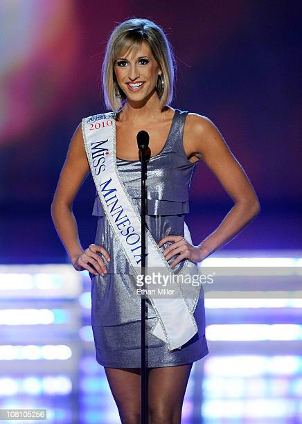 Kathryn Knuttila Miss Minnesota introduces herself during the 2011 Miss America Pageant at the Planet Hollywood Resort Casino January 15 2011 in Las...