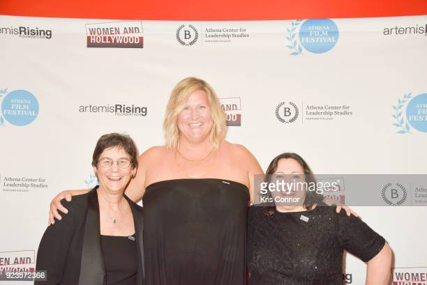 Kathryn Kolbert Bridget Everett and Melissa Silverstein attend the 2018 Athena Film Festival Awards Ceremony at The Diana Center At Barnard College...